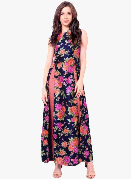 4fc0ae8601733 Buy Faballey Indya Blue Printed Kurta for Women Online India