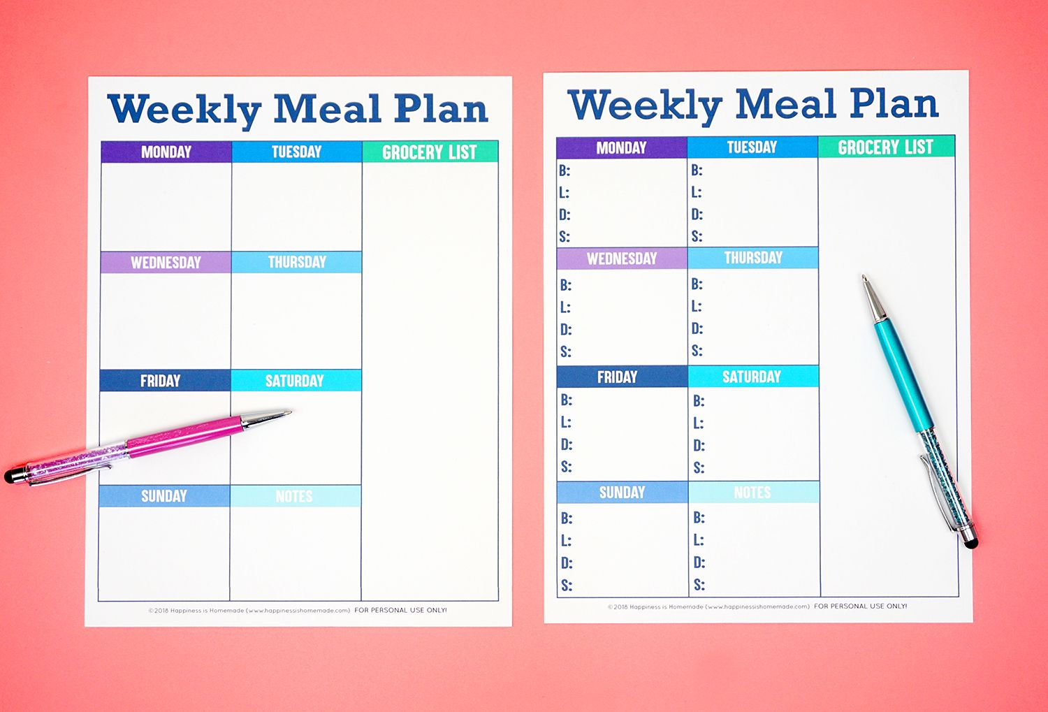 Printable Weekly Meal Planner Template Happiness is