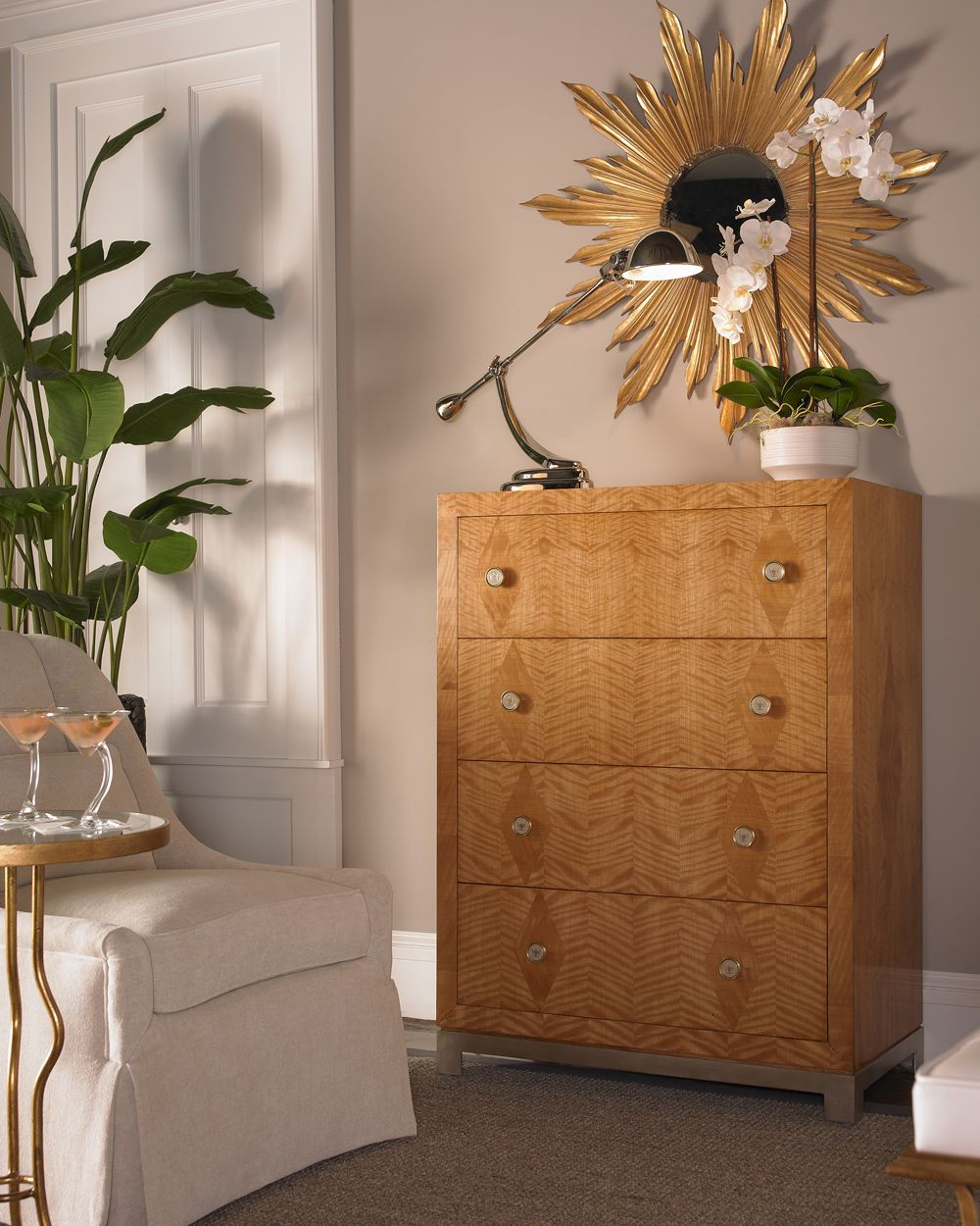 Chic Satinwood Parquetry Chest Of Four Drawers Designed Mesmerizing Alexander Julian Dining Room Furniture Design Inspiration