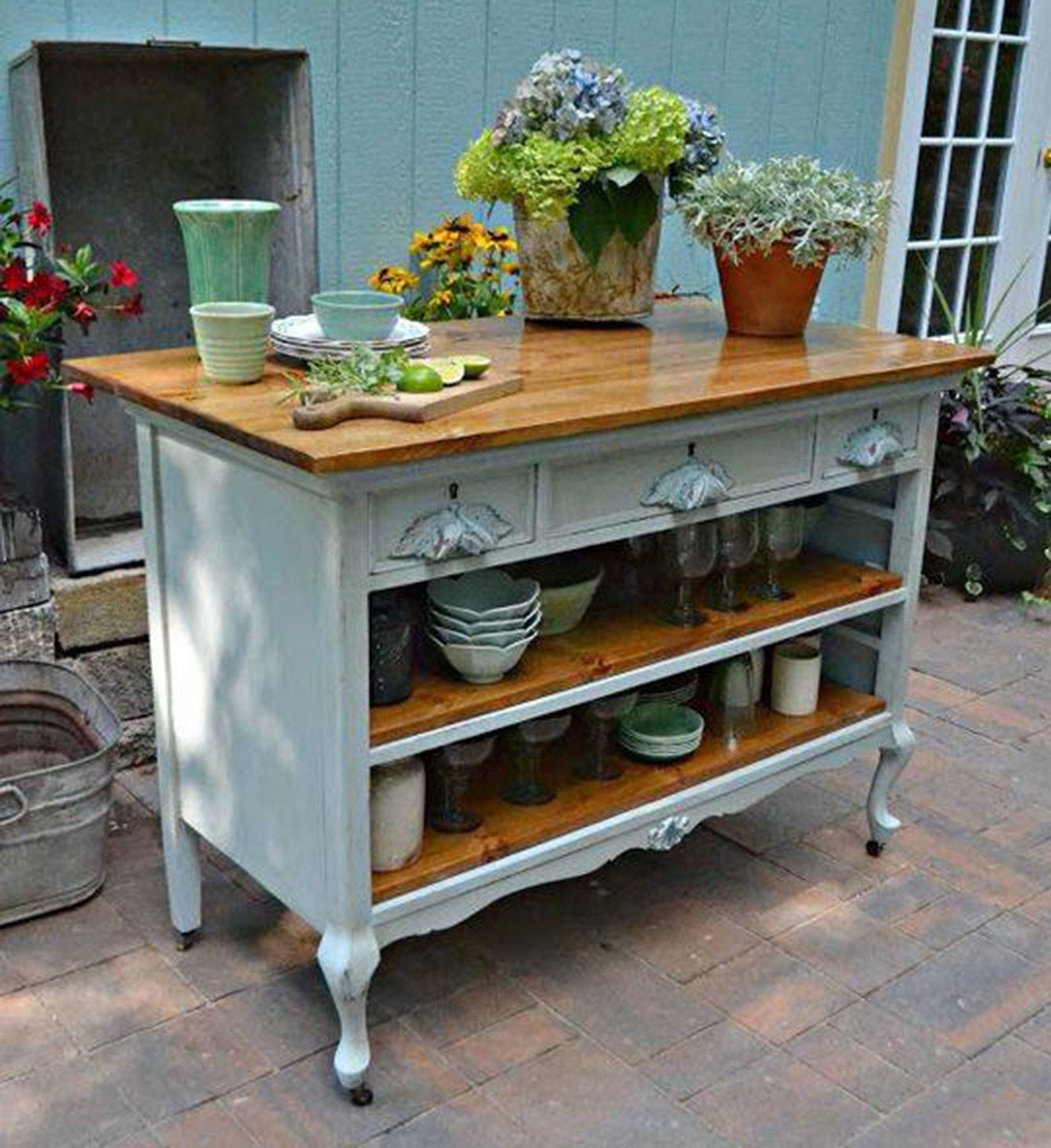 Old dresser converted to kitchen island painting for Armoire de cuisine rustique chic