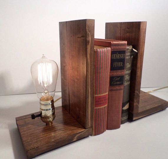 etsy industrial lighting. Edison Book End Lamp In Walnut Light By UrbanEdison On Etsy. Industrial Etsy Lighting -