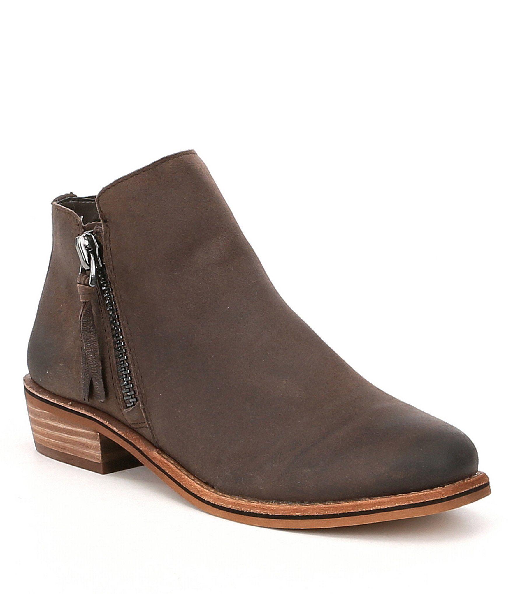 e7437fd3ffea3 GB A-Lister Double Zip Closure Leather Block Heel Booties | Mid-Calf ...
