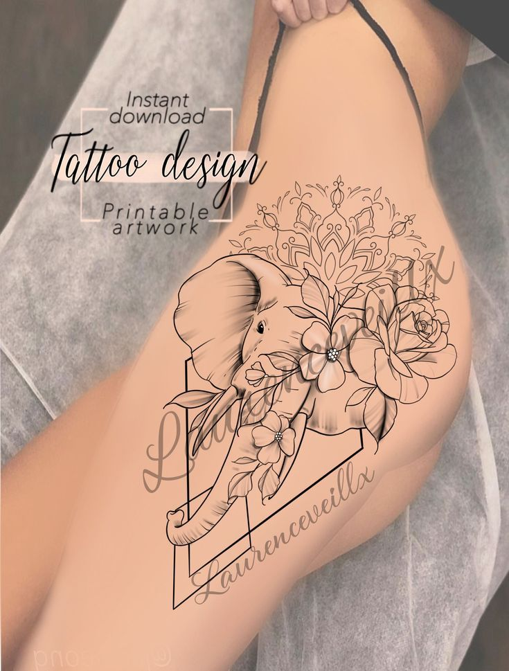druckbare elefanten mandala blumen rose tattoo design