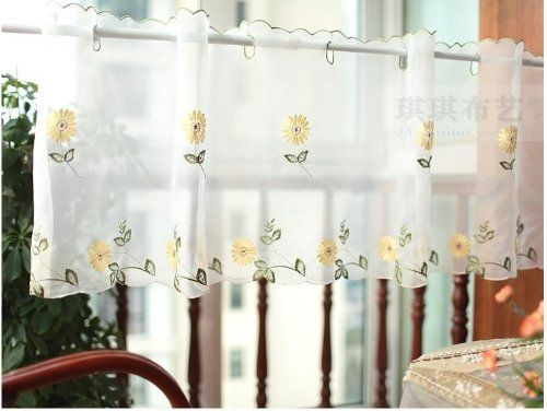 White Sheer Curtain, Embroidery Sunflower Half Cafe Curtain Sheer, Rural  Daisy Window Curtain,