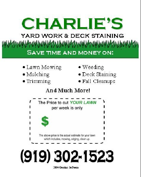 Lawn Care Flyer Free Template The Year Reed And I Married 1985 Neiman S Fortnight 2 Weeks Was