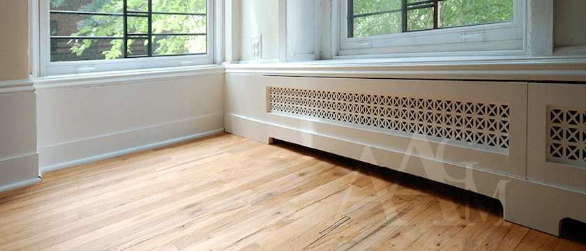 Boxy, Boring, Dark Living Room. Is There Any Hope? - laurel home | baseboard radiator cover is beautiful and fits in seamlessly in this design