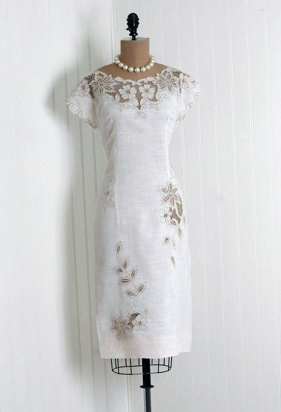 Sun Dress, Joyce's Jamaica Vogue, Montego Bay: 1950's, embroidered floral cut-out linen.