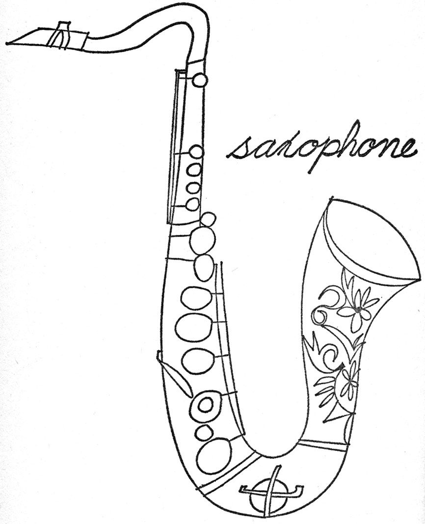 Saxophone Template Yahoo Image Search Results Music Coloring