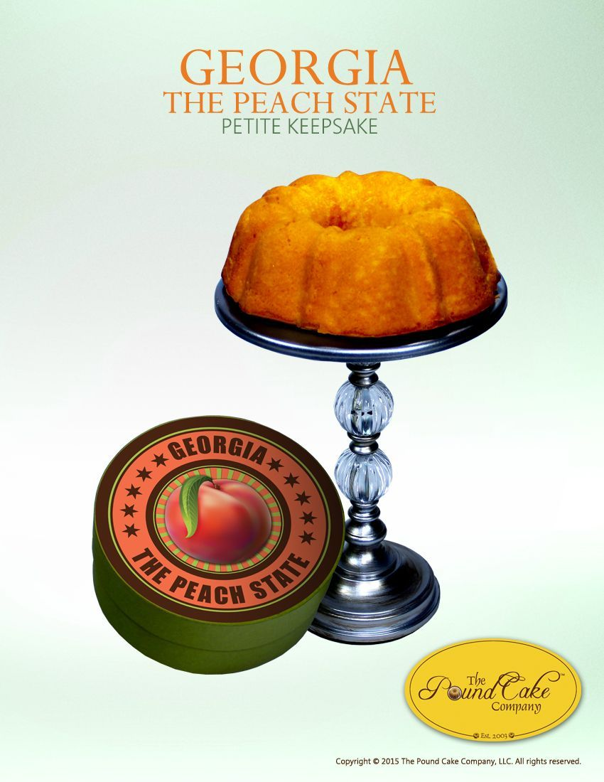 Peach State Petite #peachcobblerpoundcake The Peach State Petite allow you to enjoy the flavor of our peach cobbler pound cake without the temptation of over doing it. The Peach State themed gift box features a 6 bundt that serves 3 -4. This is our most popular Georgia Grown flavor. $20.00 #peachcobblerpoundcake