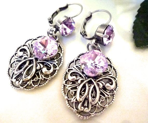 Victorian style earrings Openwork the lilacs by curlwood on Etsy