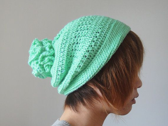 50122dcc0a8 Hand Crocheted Unique Flower Pom Pom Hat in Mint by lapuzelo ...