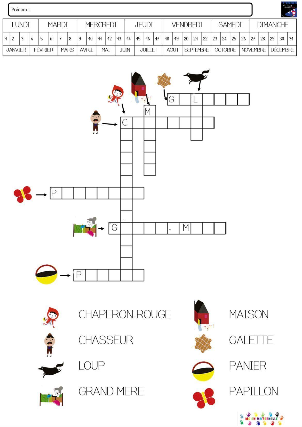 Le petit chaperon rouge : mots fléchés   MC en maternelle