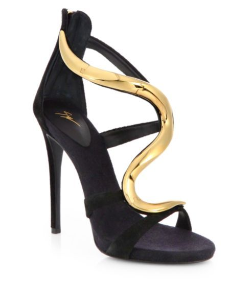 Giuseppe Zanotti - Suede & Lacquered Metal Sandals