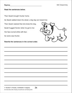 Sequencing Organizing A Paragraph 3rd Grade Reading Skills