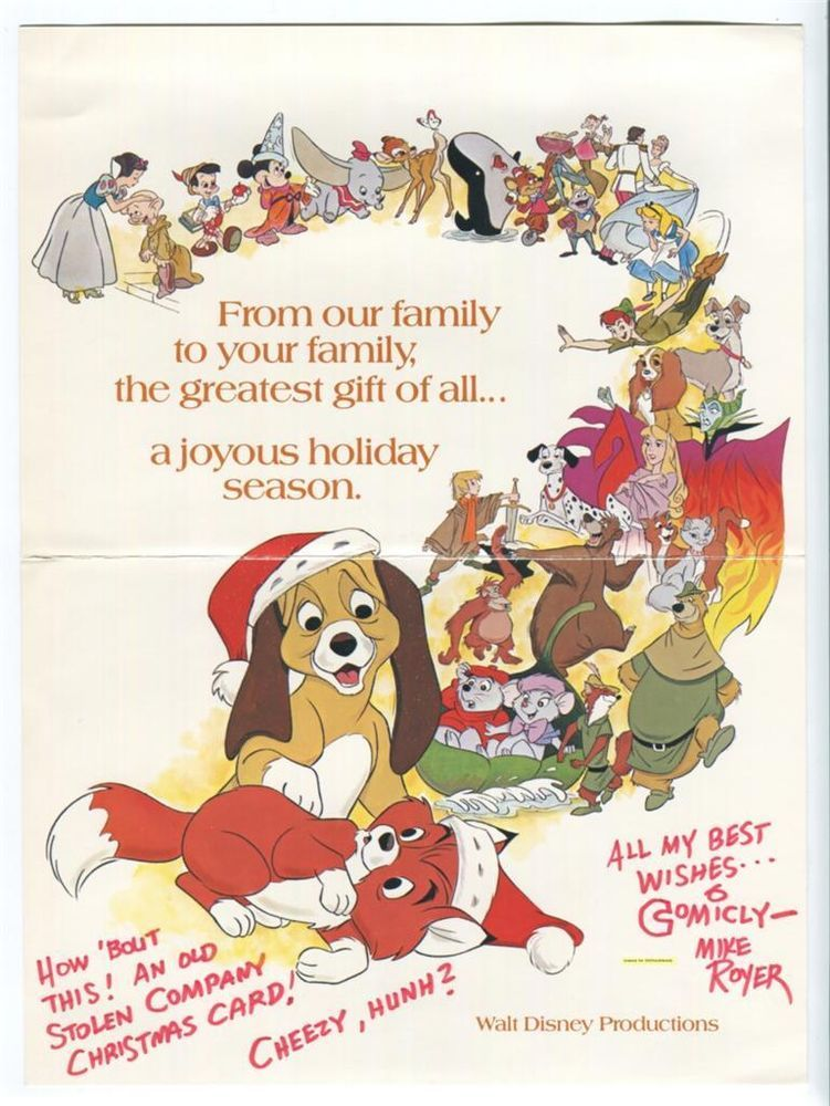 DISNEY STUDIO 1981 Vtg Promo CHRISTMAS CARD Signed by MIKE ROYER Full of Art FAB in Other | eBay