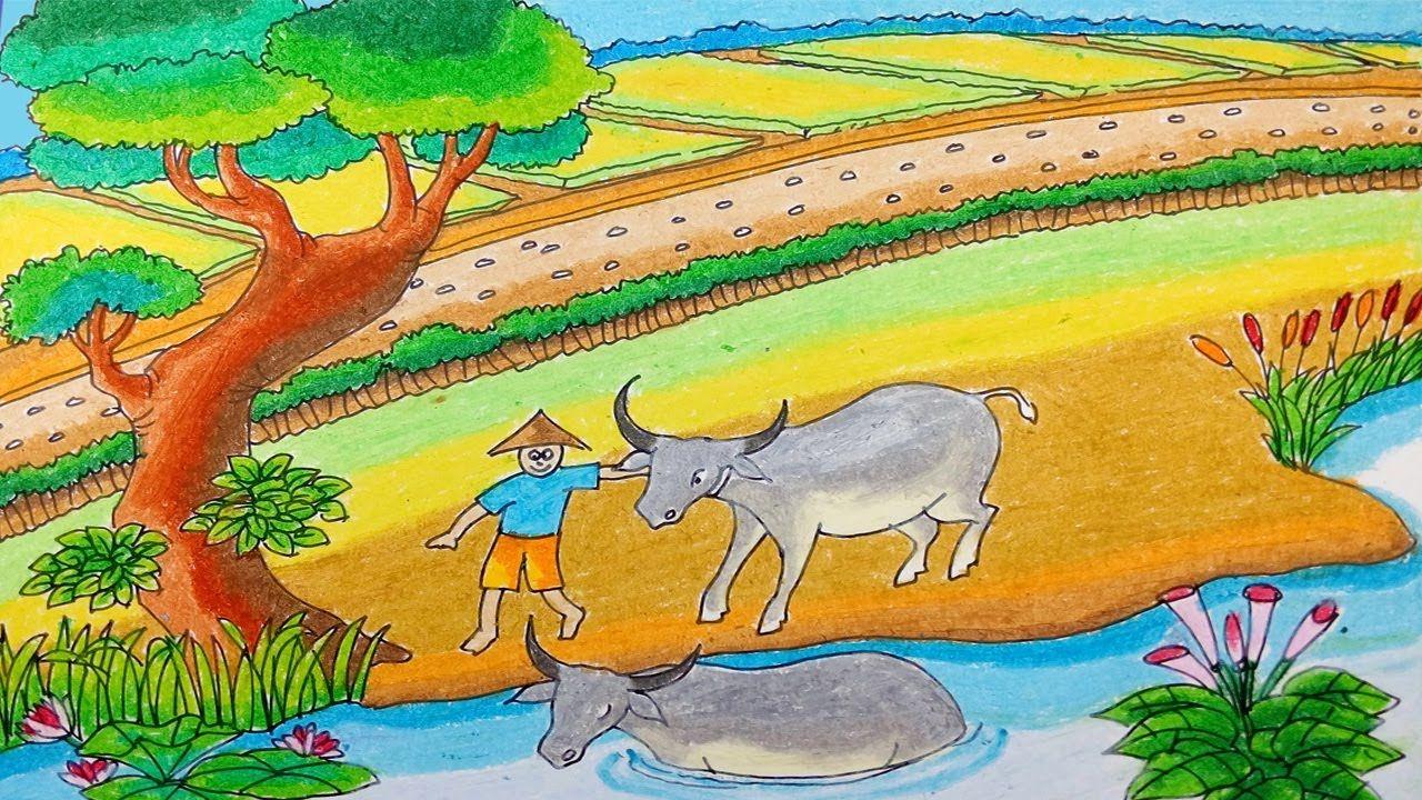Cara Menggambar Gembala Kerbau Dan Alam Desa Dengan Crayon Oil