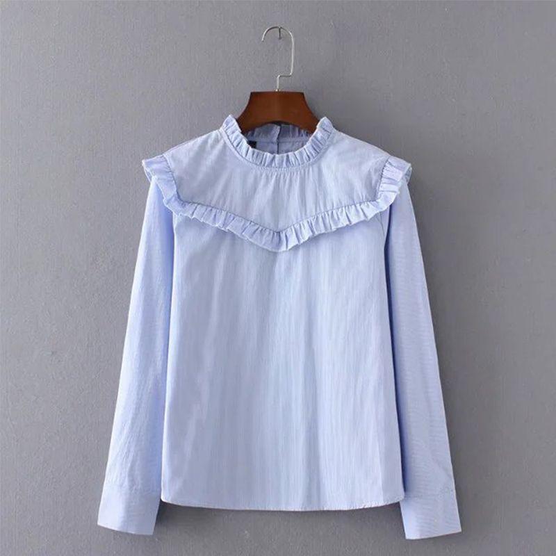 715fdf8fbdf Fashion 2017 Spring Elegant Blue Shirts Ruffle Ruched Pinstripe Woman  blouses Stand Collar Long Sleeve Tops Plus Size XZWM35