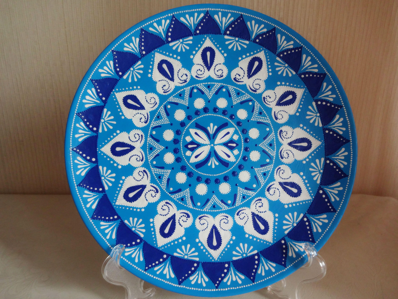 Decorative Plates For Hanging Mandala Plates Large Decorative Etsy In 2021 Ceramic Plates Hand Painted Plates Plates