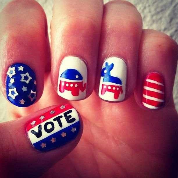 Pin For Later Hillary Clinton And Donald Trump Nail Art Is The Beauty Way To Show Your Support