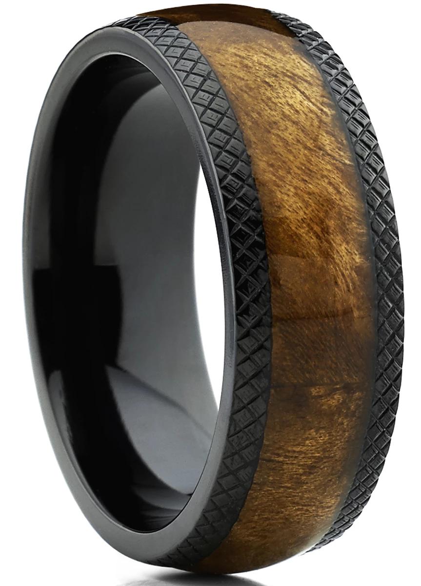 Men's Dome Black Titanium Wedding Band Ring Real Marble