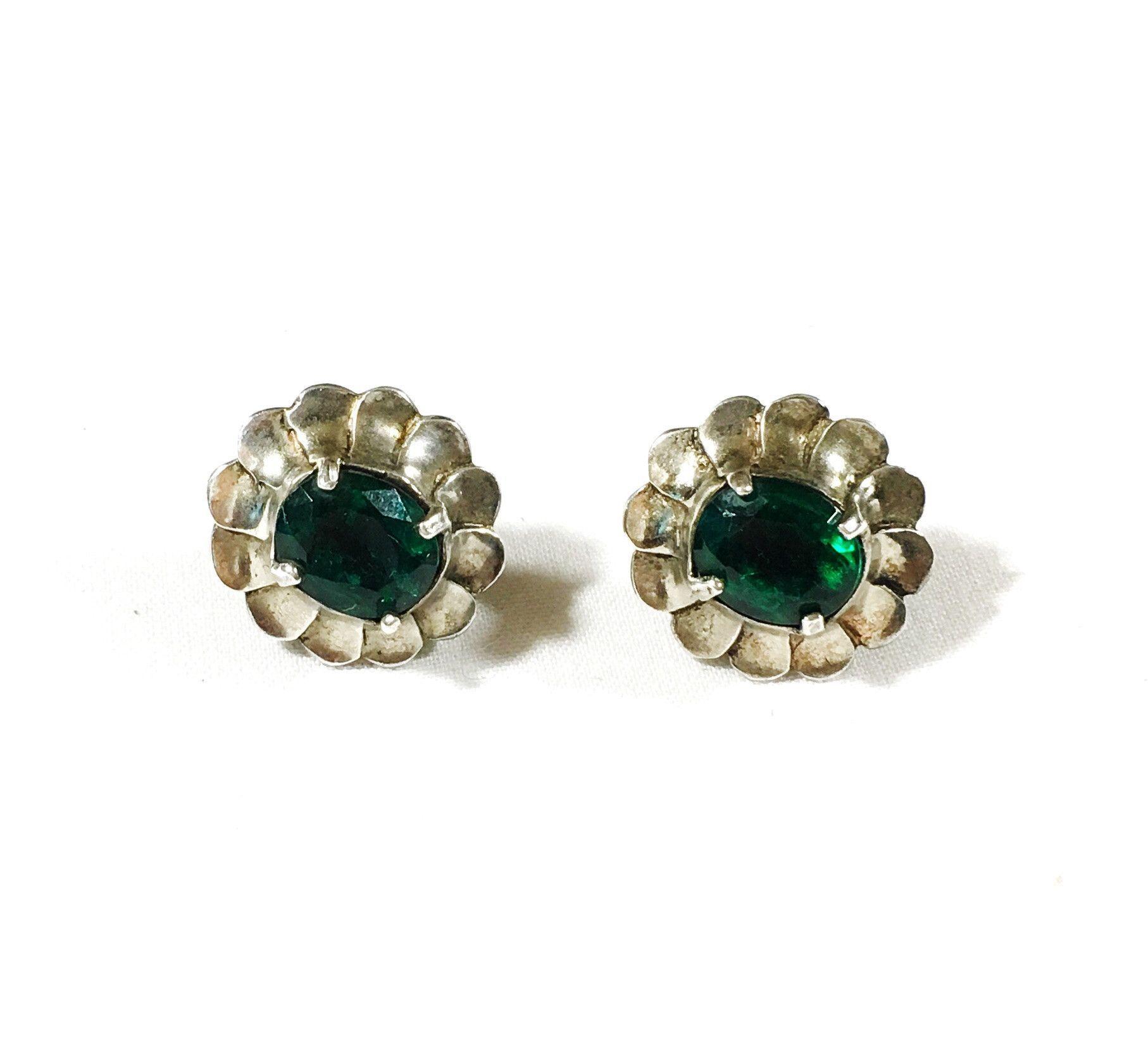 Vintage Sterling Silver Screw Back Earrings-Floral Design