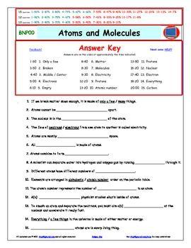 Bill Nye - Atoms and Molecules –Worksheet, Answer Sheet, a