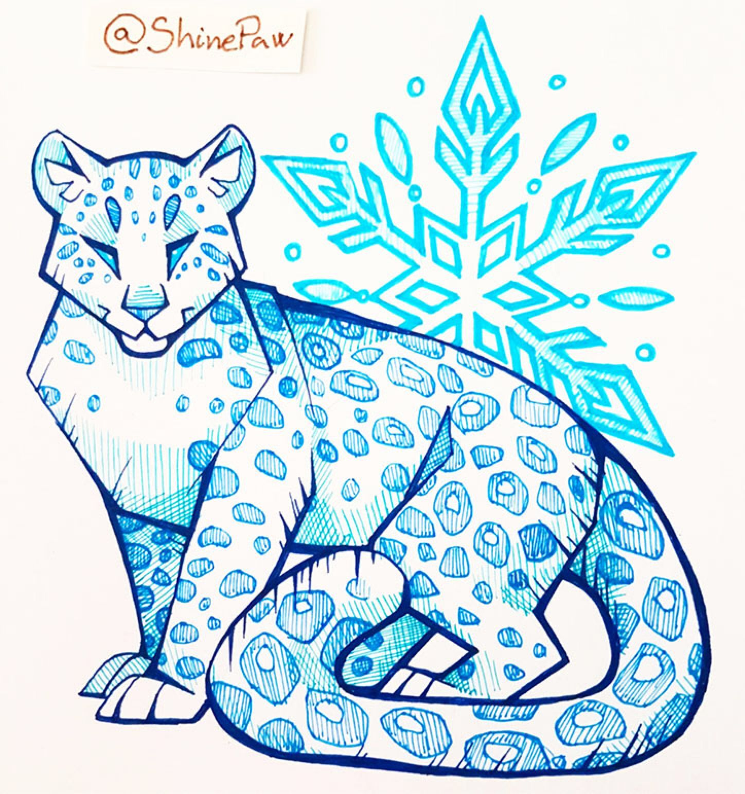 Snow Leopard Pen Sketch By Shinepawart On Deviantart Bocetos De