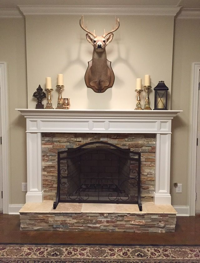 Deer Stone Fireplace Mantle Stained Concrete Floors