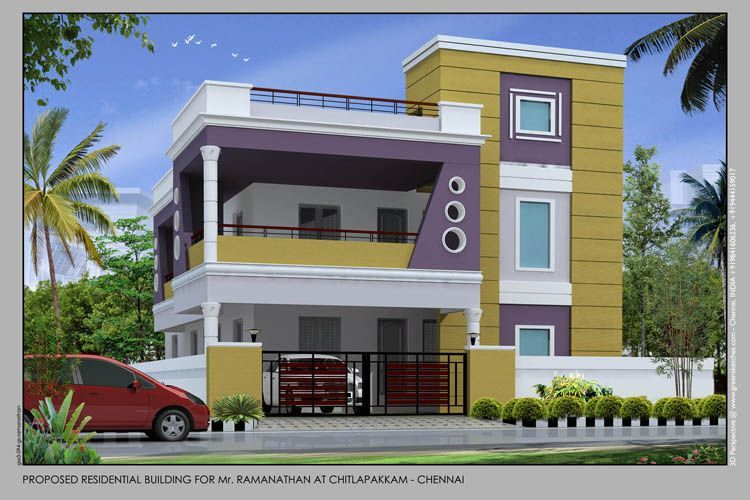 Duplex residential front Elevation   Building front