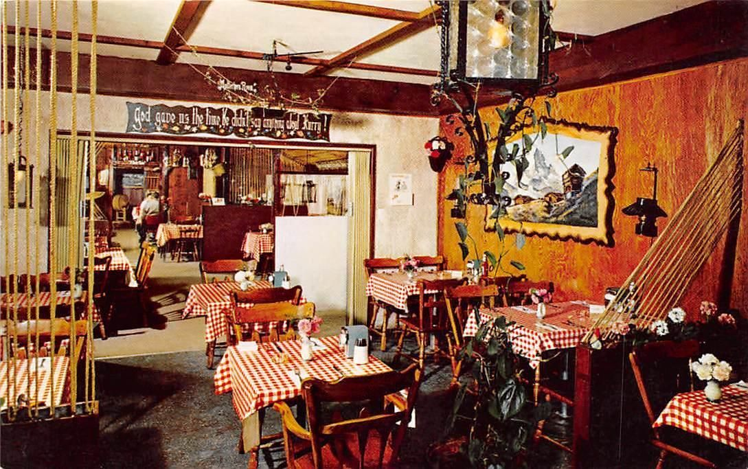 THE SWISS CHALET Restaurant Interior Tahoe Valley CA Lake Postcard C1950s