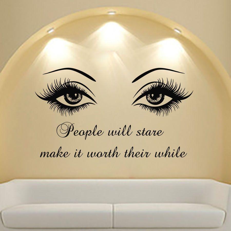 4ebf939faaf Eyes Big Decal Eye Lashes Wink Decor Quote Art Vinyl Deca Beauty Stickers  Mn808