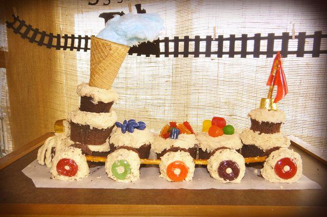 Train cake -- love the cotton candy smoke