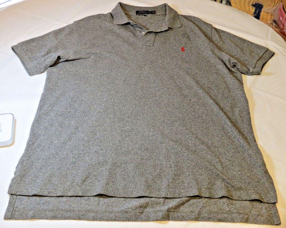 Polo Ralph Lauren cotton Mens short sleeve polo shirt XL Classic grey heather #PoloRalphLauren #PoloRugby
