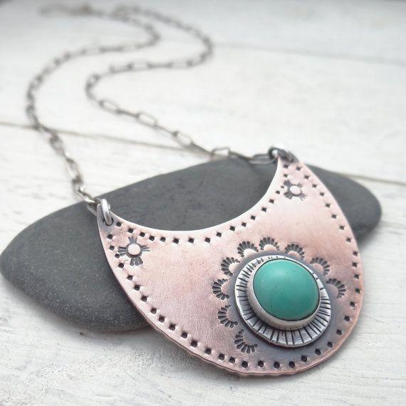 Bohemian Turquoise Bib Necklace by LostSparrowJewelry