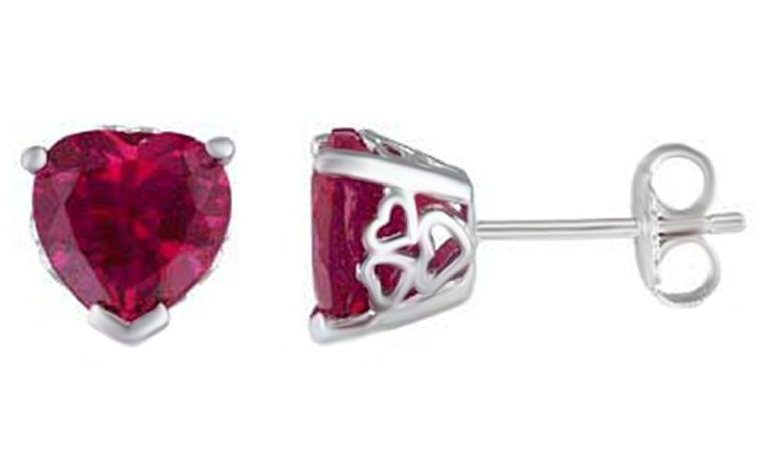 Heart Shaped Simulated Ruby Solitaire Stud Earrings In 14k