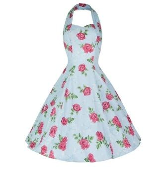 Hell Bunny blue floral full skirt tea dress