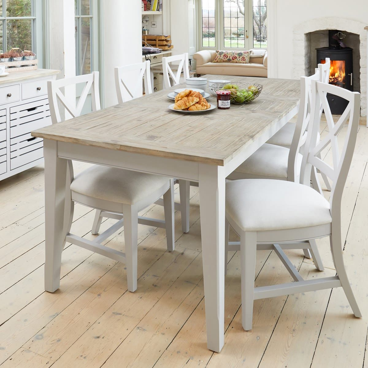 Signature Grey Extending Dining Table With Six Chairs Dining