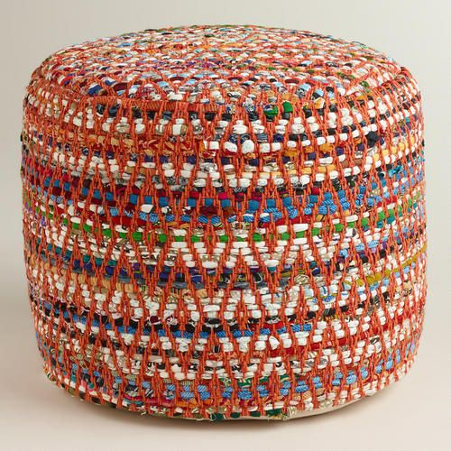 Multi Color Round Chindi Pouf By Worldmarket Desert