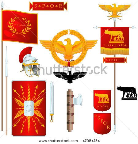 Vector Ancient Roman symbols | Senatus Populusque Romanus ...