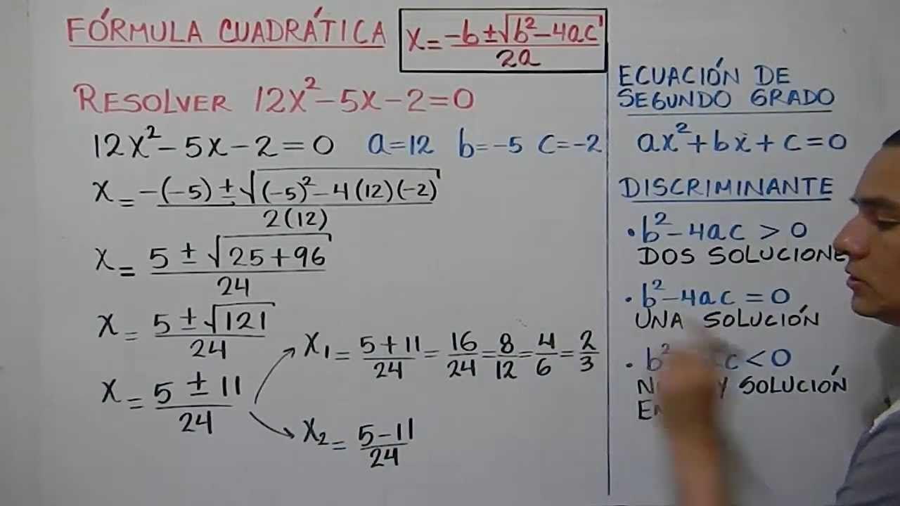 Cómo Resolver Una Ecuación Cuadrática Por Medio De La Fórmula General Ejemplo 2 Youtube Videos Matematicas Problemas Matemáticos Ecuaciones