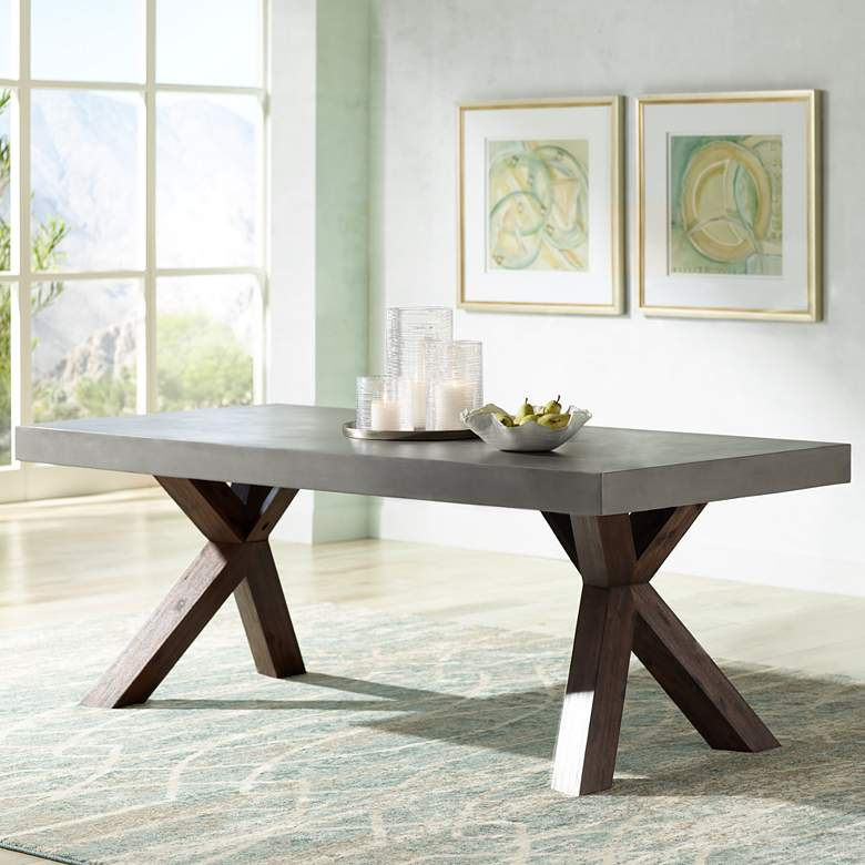Warwick 78 3 4 Wide Gray Concrete Rectangular Dining Table