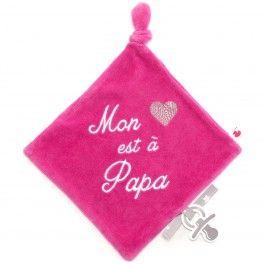 Doudou attache sucette rose Mon coeur est à Papa