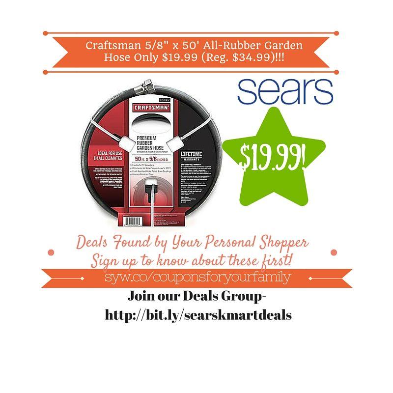 sears retail deals craftsman 58 x 50 all rubber garden hose only 1999 reg 3499 - Sears Garden Hose