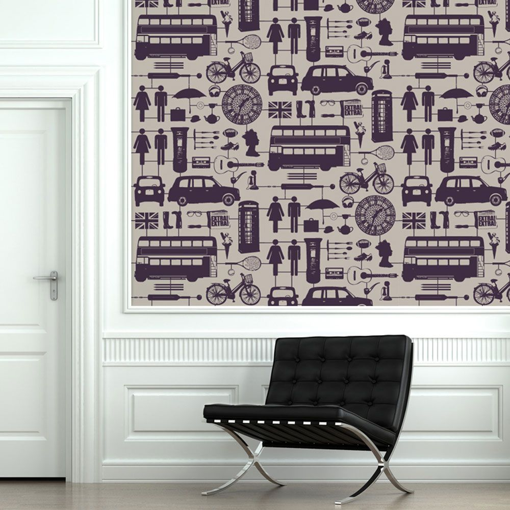 HOMEWARE :: Wallpaper :: Airfix London Wallpaper Purple On Taupe