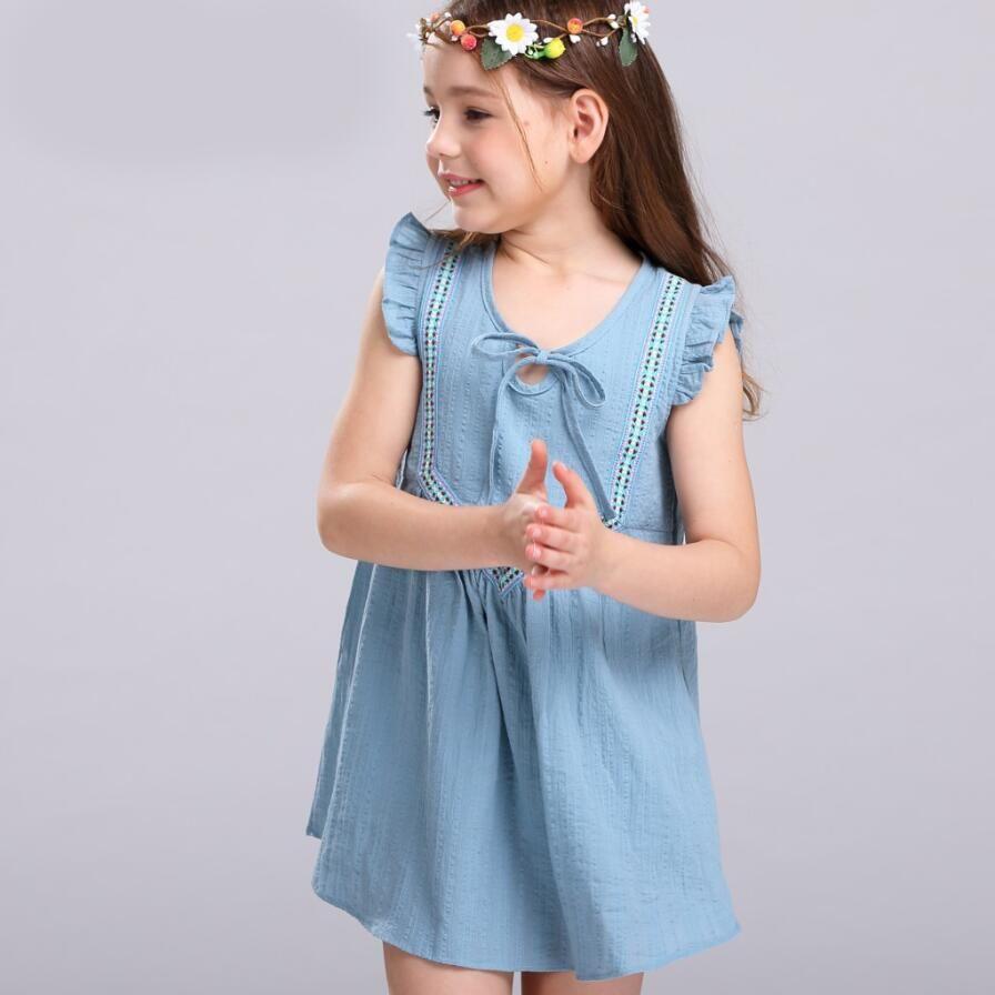 Click to Buy << Lovely Short Sleeve Dress Cotton & Linen Cute Girl ...