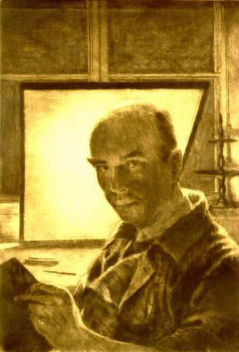 Harald Arthur Sallberg (Swedish, 1895-1963) - Self portrait, 1938 - Etching