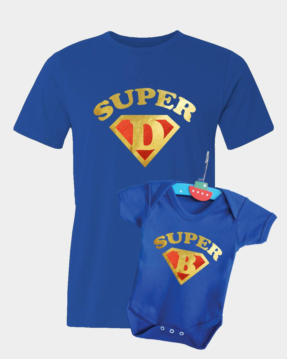 Super Dad and Super Baby blue t-shirt and baby bodysuit baby grow set with gold and metallic red vinyl. by MumKnowsBabyGrows on Etsy