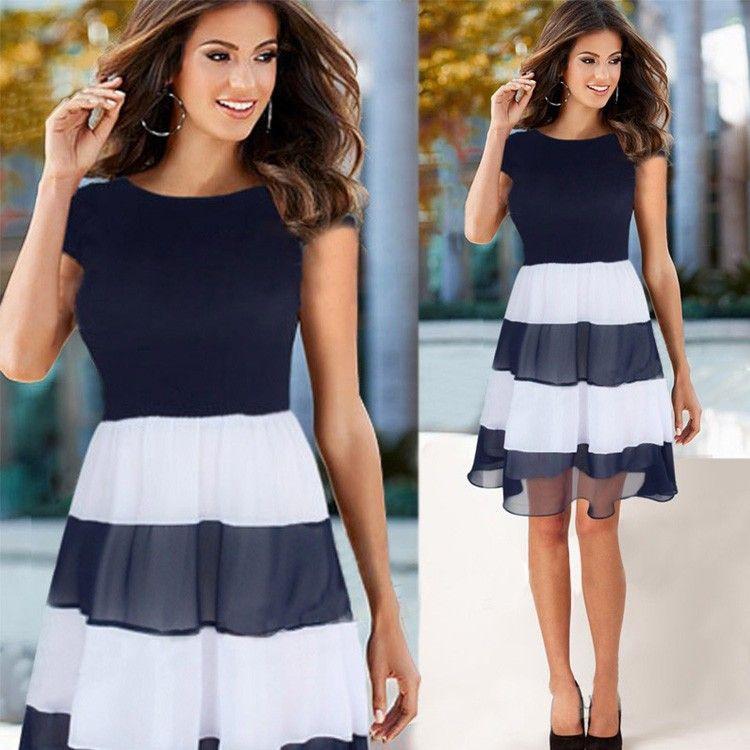 Chiffon-Kleid mit gestreiftem Rockteil | Damen, Kleider und ...