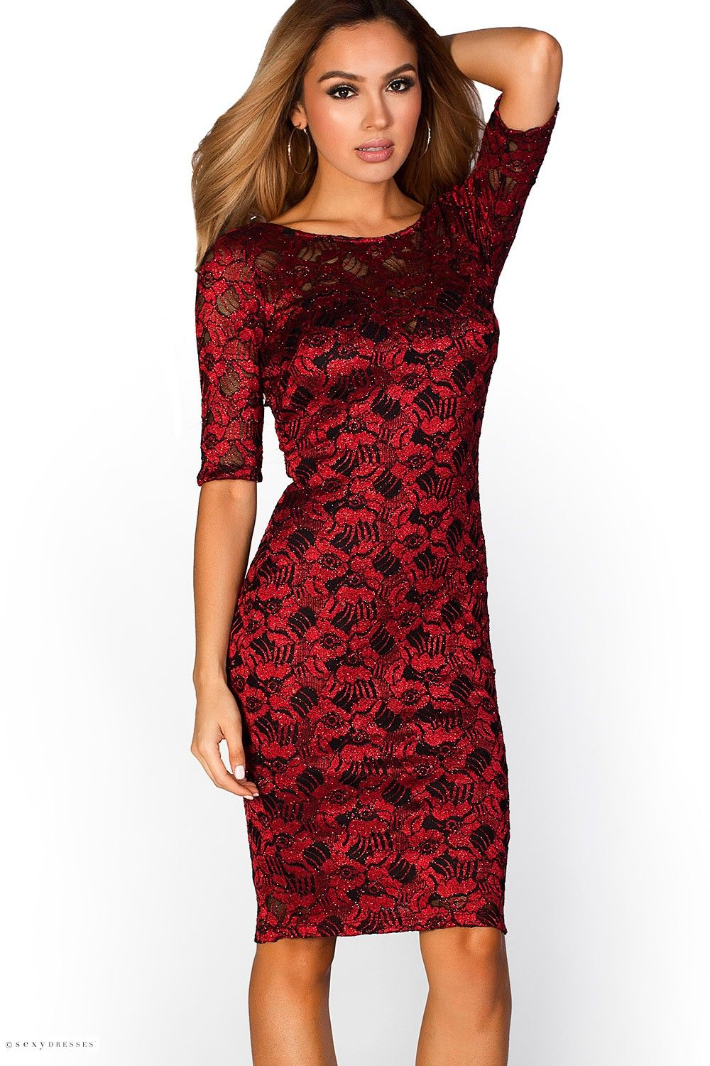 Midi length 34 sleeve sparkly glitter lace red party