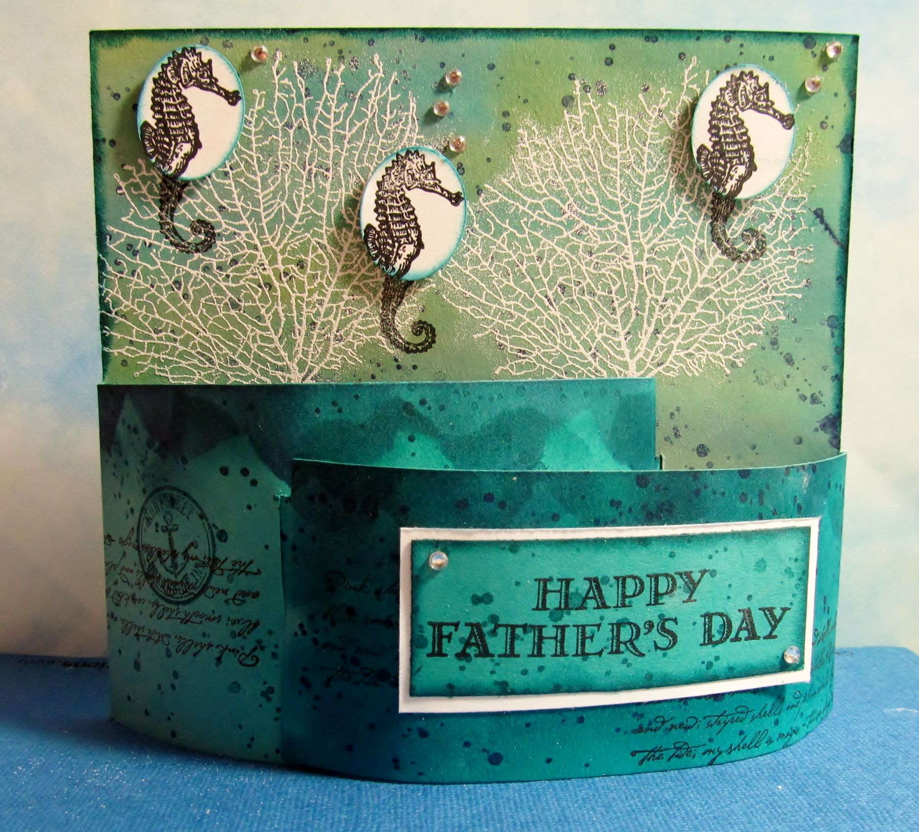 Bendy card using Stampin Up\'s By the Tide and Gorgeous Grunge stamp ...